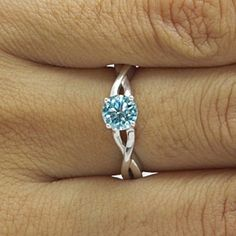 5.5 Ct Light Blue Moissanite 10K White Gold Solitaire Wedding Engagement Ring by JewelryHub on Opensky