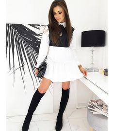 Čierno-biele šaty Medis Skater Skirt, Knee Boots, Peplum, Skirts, Products, Fashion, Moda, Fashion Styles, Skirt