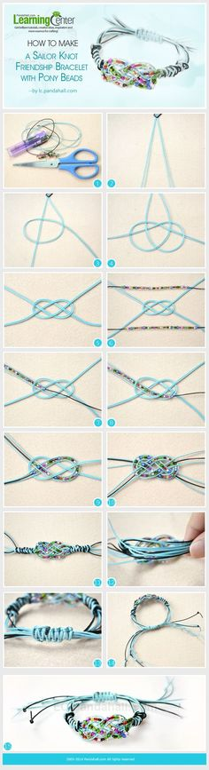 How to Make a Sailor Knot Friendship Bracelet with Pony Beads ༺✿ƬⱤღ  http://www.pinterest.com/teretegui/✿༻