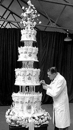 Queen Elizabeth II and Prince Philip's nine-tier wedding cake.