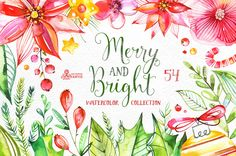 Merry And Bright. Watercolor by OctopusArtis on Creative Market