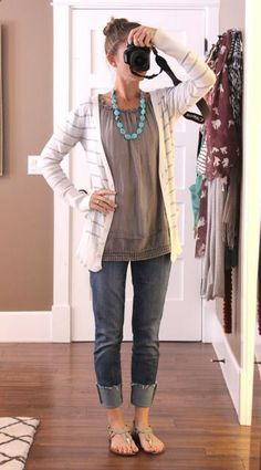 grey layered tee yellow or beige stripe cardigan crops or rolled jeans sandals color pop necklace