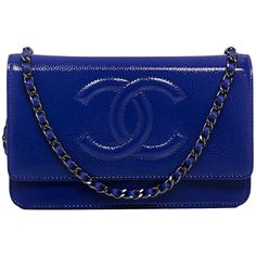 Pre-owned Chanel Blue Glazed Caviar Timeless Wallet On Chain (WOC) ($3,000) ❤ liked on Polyvore featuring bags, handbags, bolsa, chanel, purses, handbags and purses, leather cross body handbags, blue leather purse, leather handbags and leather messenger bag
