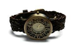 Brown Braided Leather Strap Watch Womens Watch by BriAndAshStore