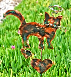 Cat copper patina finished pet memorial grave marker. https://www.etsy.com/shop/GardenCopperArt