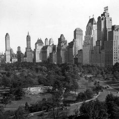 Central Park, New York City, 1930's—bordered by 59th Street on right running to Fifth Avenue on left, before edifice line. Note Sherry-Netherland and Essex House.