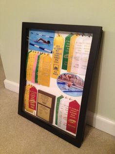 Shadow box to display awards and ribbons from each year Award Ribbon Display, Award Display, Shadow Box, Swim Ribbons, Trophy Display, Trophy Shelf, Kids Awards, Sports Awards, Swim Mom