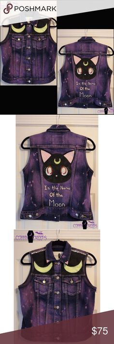 In the name of the moon  Luna vest This sailor moon inspired vest was hand dyed, hand painted and hand studded with love. A lot of work went into this vest. Leaving some room to add pins or patches. This is a ONE OF A KIND vest. It's a Women's size Medium. coffin creeps Jackets & Coats Vests