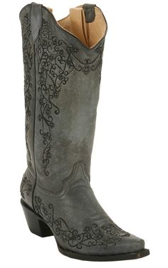 Corral® Ladies Distressed Black w/ Intricate Midnight Embroidery Snip Toe