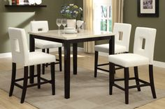 """This cream-stone slate color tabletop framed in a rich brown hue exemplifies bold contrast. With seating for four, this counter height dining table has potential to brighten any culinary experience.  F2338 Counter Height Table F1322 High Chair  Table 42"""" x 42"""" x 36""""H Chair 19"""" x 22"""" x 42""""H, 24""""H seat"""