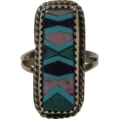 Vintage Native American Mosaic Inlay Ring Size 5.75 | Indian Jewelry at www.rubylane.com @rubylanecom
