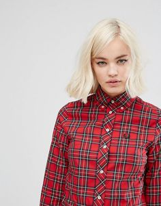 Fred Perry Reissue Plaid Shirt | ASOS Polo Shirt Girl, Fred Perry, Button Down Collar, Shirts For Girls, Shirt Style, Fashion Online, Hair Makeup, Asos, Leather Jacket
