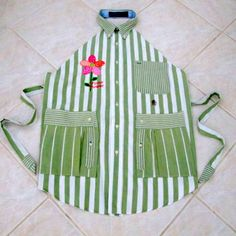 FLOUR POWER Upcycled Ladies Appliqued Shirt Apron by KJayDesigns, $37.50