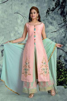 Show details for Pastel pink and green designer suit Kate Middleton Jeans, Latest Salwar Kameez, Suits 5, Indian Designer Wear, Green Fabric, Festival Wear, Indian Sarees, Indian Dresses, Pastel Pink