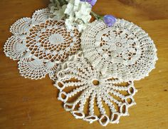 3 Doilies Doily Crocheted Doily Ecru Vintage Doilies  D9 by TreasureCoveAlly on Etsy