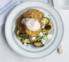 Chickpea fritters with courgette salad. Mix up a pancake-style batter to make little griddle cakes with storecupboard ingredients, then serve with a contrasting green salad Bbc Good Food Recipes, Veggie Recipes, Salad Recipes, Vegetarian Recipes, Cooking Recipes, Pescatarian Recipes, Veggie Food, Dinner Recipes, Chickpea Fritters