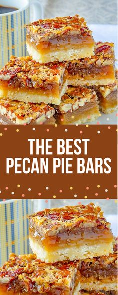 If you want to pleasantly surprise your family, Pecan Pie Bars is the right dish. Amaze your loved ones with a quick and easy to make nutty cake. Pecan Bars, Best Pecan Pie, Pie Recipes, Sweet Recipes, Cookie Recipes, Holiday Baking, Christmas Baking, Köstliche Desserts, Candy