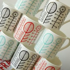 floral mugs by bloomsbury - for when my yucky green ones finally give up the ship....