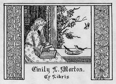Artist: Morton, C.A.   Date: 1902   Description: States, 'Emily L. Morton. ;' depicts girl or young woman reading next to a window, with birds and a border of butterflies. Signed in lower left, 'C.A. Morton,' with '1902' in lower right.   Format: 1 print, b&w, 8 x 10 cm.   Source: Pratt Institute Libraries,