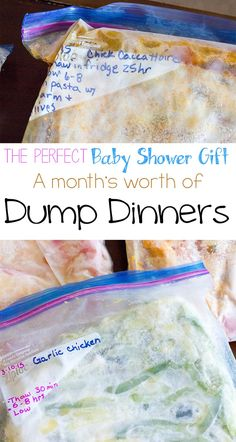 Dump Dinners make a wonderful gift for the expectant mom! A whole month's worth of dinners to alleviate the stress on new moms - a gift that gives.