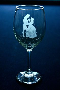 Disney Beauty and the Beast Etched Wine Glass