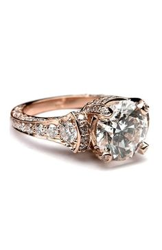 Large Diamond Rose Gold Cathedral Graduated pave Engagement Ring