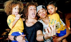 David Luiz and Thiago Silva meet their lookalikes in Sao Paulo, Brazil.