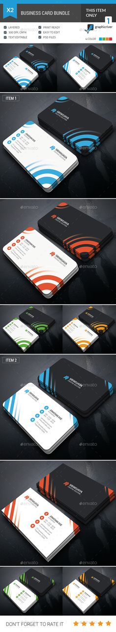 Business Card Bundle — Photoshop PSD #print #business • Available here → https://graphicriver.net/item/business-card-bundle/15711482?ref=pxcr