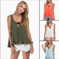 Summer Strap Sleeveless V Neck Pleated Tank Top - Green/White/Orange/Blue