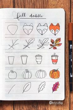 Best Bullet Journal Doodle Ideas For Halloween & Fall 2020 - Crazy Laura - - Starting your fall theme and need some deocration ideas? Check out these Fall and Halloween step by step bullet journal doodle tutorials for inspiration! Art Journal Pages, Art Journal Challenge, Art Journal Prompts, Art Journal Techniques, Journal Themes, Bullet Journal Ideas Pages, Bullet Journal Inspiration, Doodle Art Journals, Easy Doodle Art