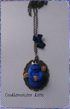 Cookie Monster Kette Polymer Clay ,Fimo,Krümelmonster