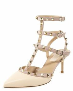 Rockstud Ankle-Wrap Pump by Valentino