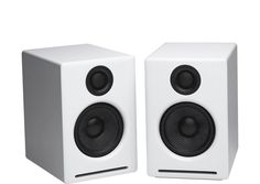 #Audioengine A2  Mini Powered Bookshelf Speakers - White -  improved bass response variable audio output (connect a subwoofer or wirelessly send audio to other speakers with our optional W3 wireless speaker adapter)standard 1/4-Inch thread inserts for wall mountsUSB digital to analog converter (DAC)