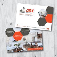 Postcard design for home builder & renovator Mailer Design, Collateral Design, Brochure Design, Postcard Layout, Postcard Design, Branding, Business Postcards, Name Card Design, Commercial Construction