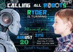 Robot Invitation, Robotics Party, Fun Science Birthday Invite Large Photos, High Resolution Photos, Funny Cards, Robotics, Best Part Of Me, Birthday Invitations, Party Fun, Party Ideas, Thank You Cards