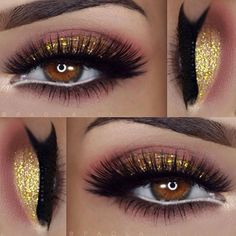 """Eyeshadows: @nyxcosmetics Love In Paris """"Merci Beaucoup"""" palette / Glitter: @bellaterracosmetics mineral glitter Cheers / Liner: @motivescosmetics Little Black Dress / Lashes: @amyjunelashes Audrey and Amelia"""