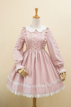 Little Dipper -Fake Alice- Petal Collar Classic Sweet Lolita Long Sleeves OP Dress