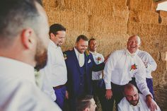 Groomsmen hanging out and laughing