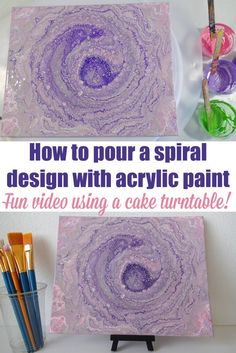 How to create a spiral design in acrylic pouring and painting using a cake turntable. This is such a fun video tutorial and I love that spiral painting.