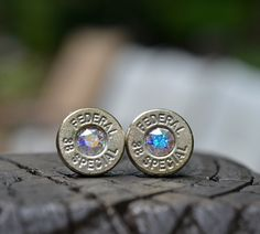 Bullet Earrings stud earrings or post earrings Federal .38 special earrings silver earrings with Swarovski crystals FREE SHIPPING USA by WoodenTreasures on Etsy
