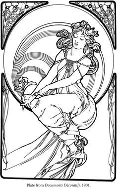 Creative Haven ART NOUVEAU DESIGNS Coloring Book By: Alphonse Marie Mucha, Jr., Ed Sibbett, Jr. -  Dover Publications Coloring Page 3 of 5