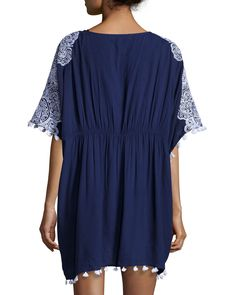 Nanette Lepore Embroidered Caftan Top with Tassels, Indigo