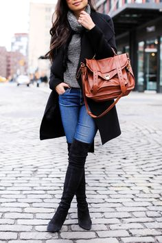 Denim and Over the knee boots.