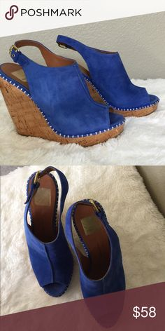 Dolce Vita Suede Wedges - NWOT ❤️👠❤️  GORGEOUS Blue Suede Wedges, great to transition into fall!  ❤️👠❤️  NEVER worn. Smooth sole, no footprints. Sorry no box 😁 Dolce Vita Shoes Wedges
