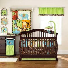 Zoo Zoo 5 Piece Reversible Baby Crib Bedding Set by Too Good by Jenny shows the bumper pad in this pic