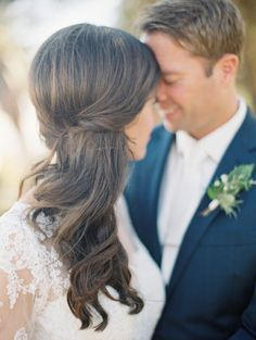 Twisted half-up wedding hairstyle: http://www.stylemepretty.com/2015/11/30/classic-summer-wedding-at-the-adamson-house/ | Photography: Diana McGregor - http://www.dianamcgregor.com/
