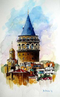 Galata Tower, watercolor painting, by Berrin Duma.