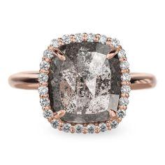 4.4 Carat Black Diamond Halo Engagement Ring, Recycled 14k Rose Gold