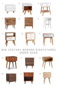 Mid Century Modern Nightstands Under $200, MCM nightstands, affordable nightstands, modern nightstands