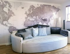 Black & White world map wallpaper by Wallpapered